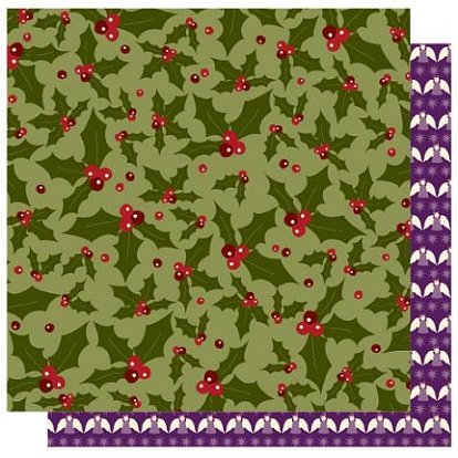 FaLaLa Christmas Holly 12x12 Double Sided Glittered Scrapbooking Cardstock