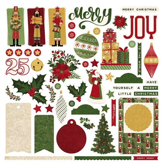 Christmas Joy 12x12 Cardstock Scrapbooking Stickers