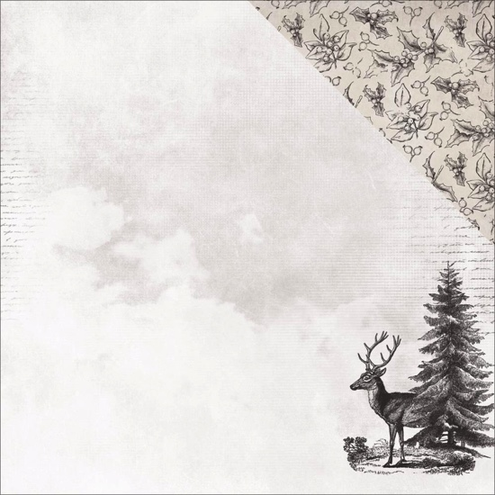 Christmas Tree Stag 12x12 Double Sided Scrapbooking Paper