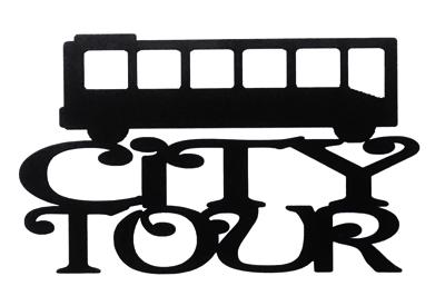 City Tour Scrapbooking Laser Cut Title with Bus