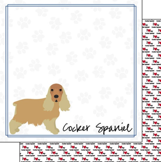 Cocker Spaniel 12x12 Double Sided Scrapbooking Paper
