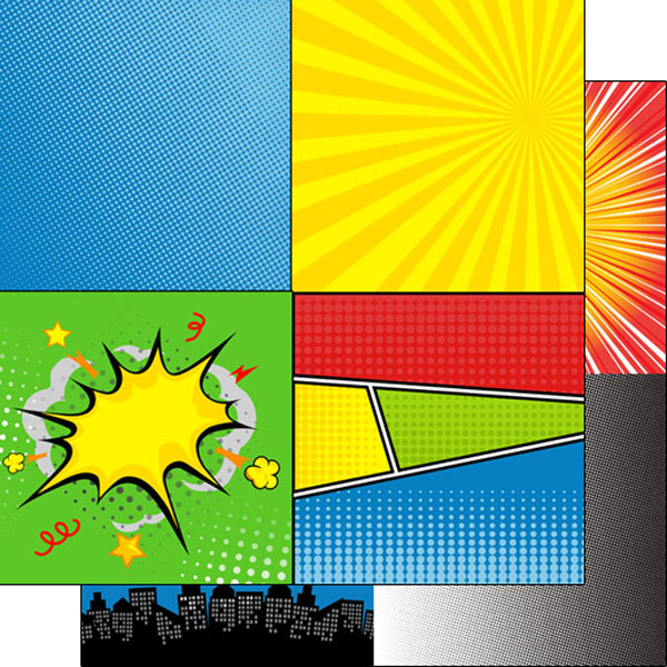 Comic Squares 12x12 Double Sided Scrapbooking Paper
