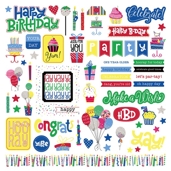 Birthday Confetti 12x12 Cardstock Scrapbooking Stickers