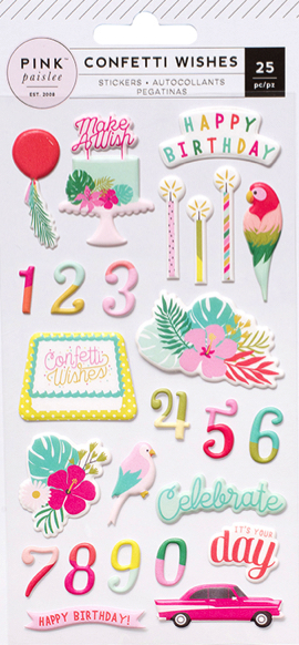 Confetti Wishes Puffy Birthday Scrapbooking Stickers