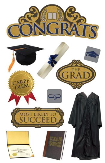 Graduation Congrats 3D Scrapbooking Stickers