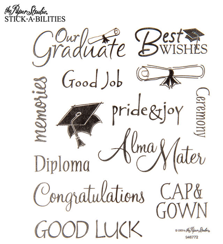 Graduation Words Scrapbooking Stickers - 2 Sheets