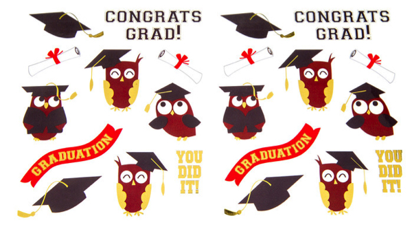 Congratulations Owls Graduation Scrapbooking Stickers with gold foil