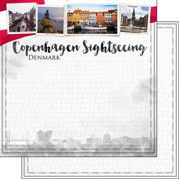 Copenhagen Sightseeing 12x12 Double Sided Scrapbooking Paper