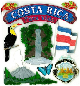 Costa Rica Jolees 3D Scrapbooking Stickers
