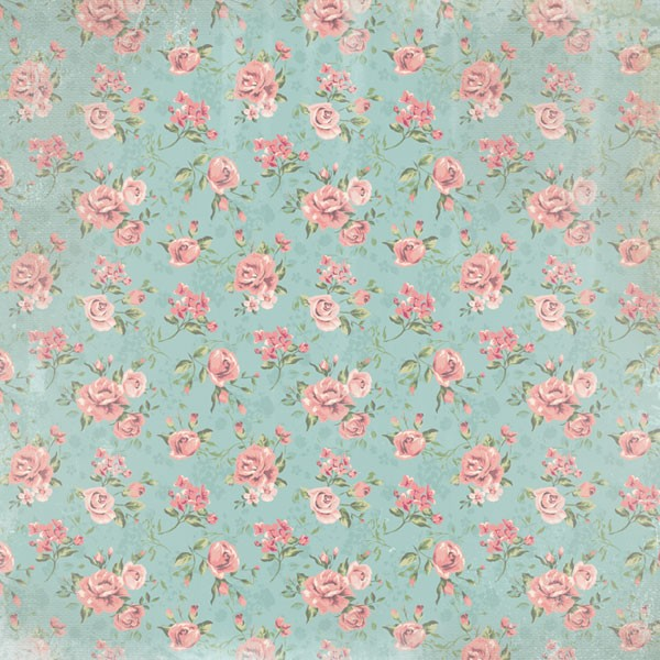 Country Floral Pattern 12x12 Scrapbooking Paper