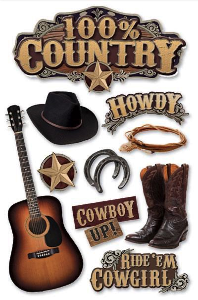100% Country 3D Scrapbooking Stickers