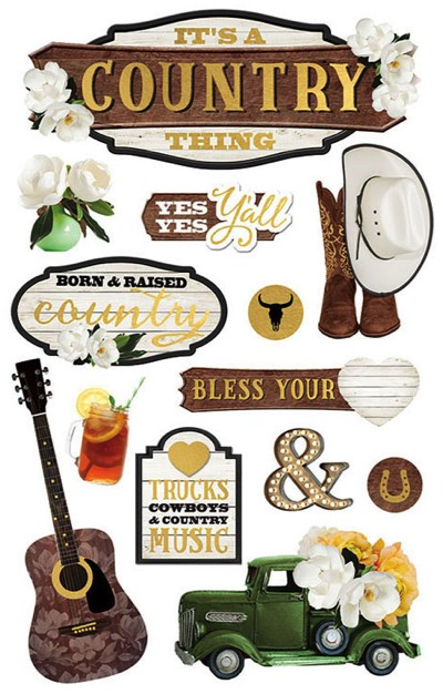 Country 3D Scrapbooking Stickers