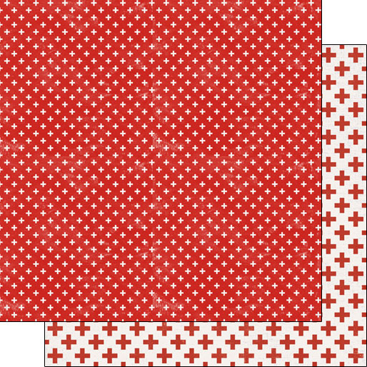 Red Cross Covid19 12x12 Double Sided Scrapbooking Paper