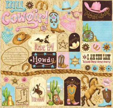 Cowgirl 12x12 Cardstock Scrapbooking Stickers