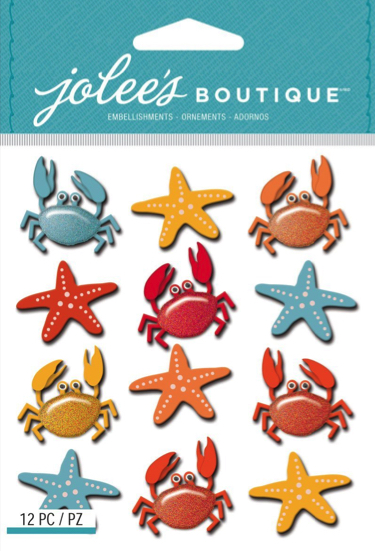 Crabs and Starfish Glittered Jolees 3D Scrapbooking Stickers