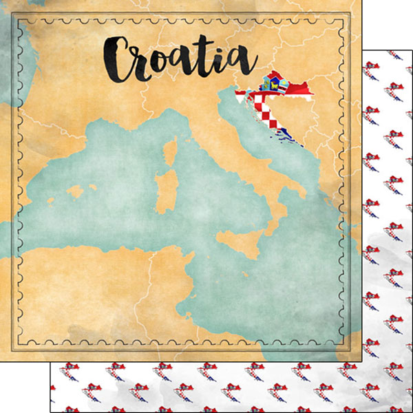 Croatia Sights Map 12x12 Double Sided Scrapbooking Paper