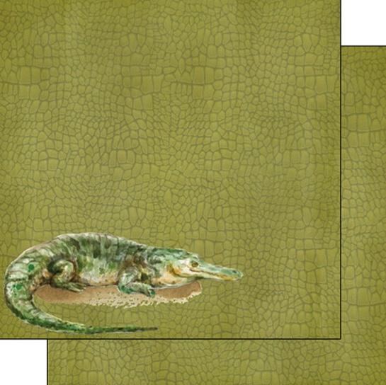 Crocodile Safari 12x12 Double Sided Scrapbooking Paper