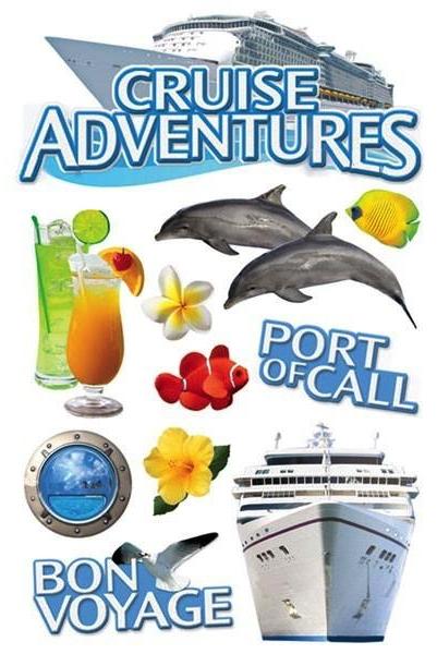 Cruise Adventures 3D Glitter Scrapbooking Stickers
