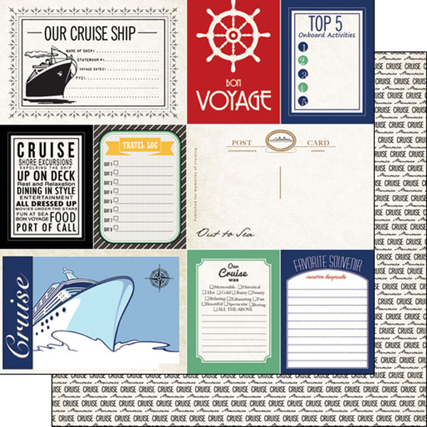 Cruise Journal 12x12 Double Sided Scrapbooking Paper