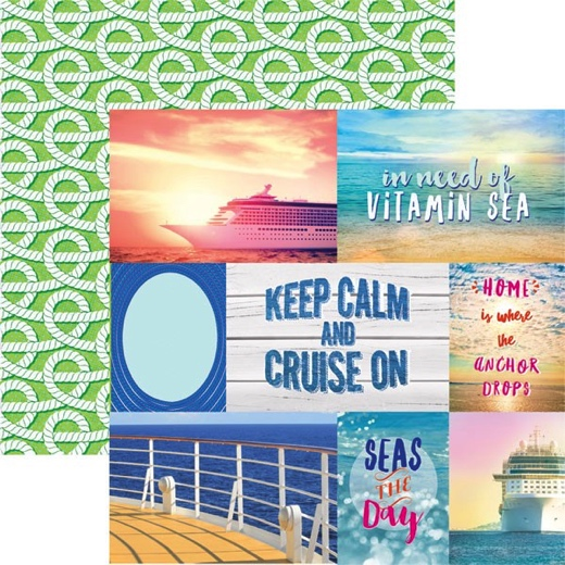 Cruise Tags 12x12 Double Sided Scrapbooking Paper