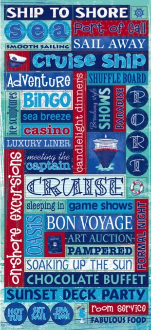 Cruise Words Large Glittered Scrapbooking Stickers