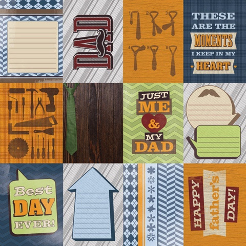 Dad Tags 12x12 Scrapbooking Paper