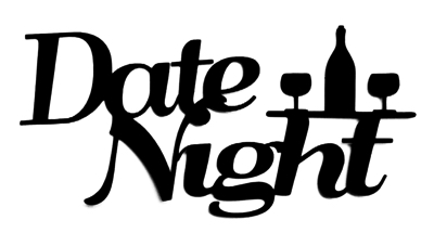 Date Night Scrapbooking Laser Cut Title with Wine