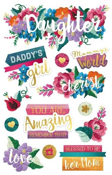 Daughter 3D Glitter Scrapbooking Stickers
