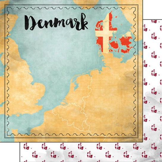 Denmark Sights Map 12x12 Double Sided Scrapbooking Paper