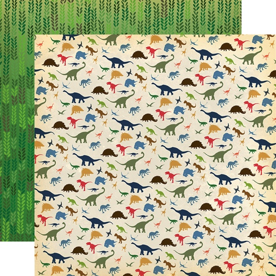 I Love Dinosaurs 12x12 Double Sided Scrapbooking Paper
