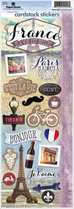 Discover France Cardstock Scrapbooking Stickers