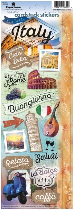 Discover Italy Cardstock Scrapbooking Stickers
