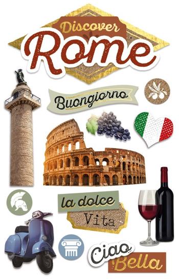 Discover Rome 3D Glitter Scrapbooking Stickers