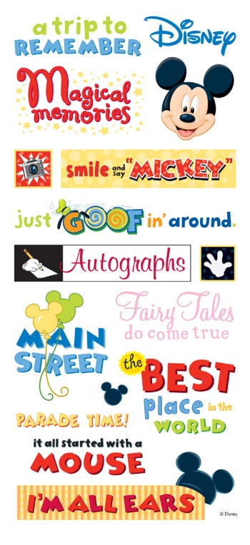 Disney Theme Park Phrases Large Scrapbooking Stickers