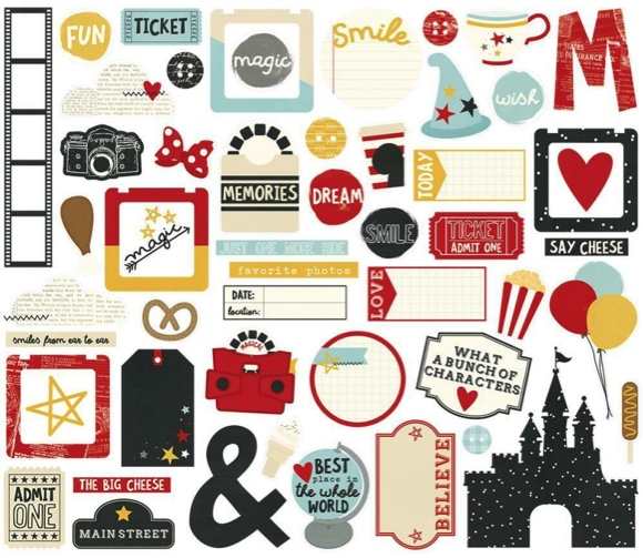 Disney Bits and Pieces 53 Die Cut Scrapbooking and Journaling Shapes