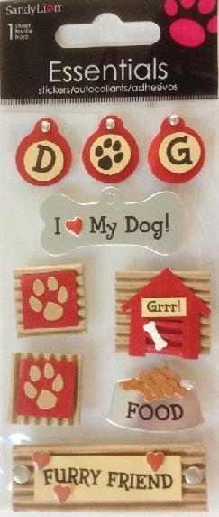 Dogs 3D Handmade Essentials Scrapbooking Stickers
