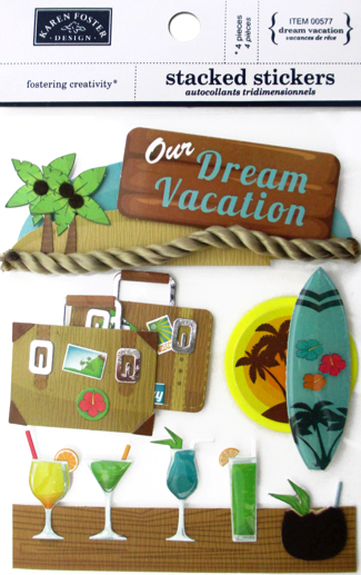 Dream Vacation 3D Scrapbooking Stickers