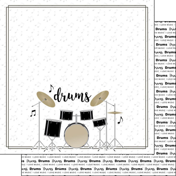Drums 12x12 Double Sided Scrapbooking Paper