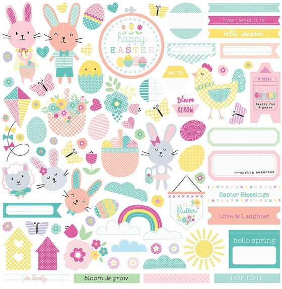 Easter Blessings 12x12 Cardstock Scrapbooking Stickers