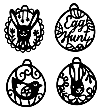 Easter Baubles Four Intricate Laser Cuts