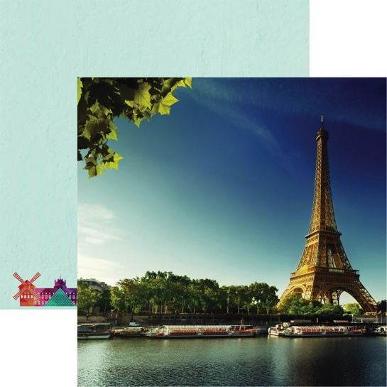 Eiffel Tower 12x12 Double Sided Scrapbooking Paper