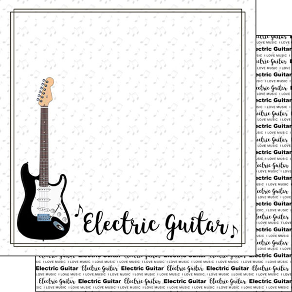 Electric Guitar 12x12 Double Sided Scrapbooking Paper