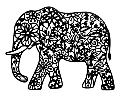 Elephant Intricate Scrapbooking Laser Cut