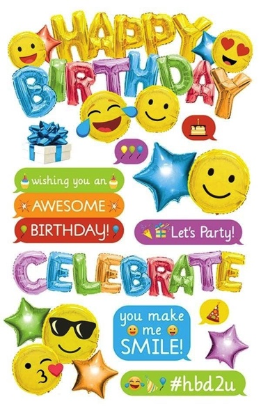 Emoji Birthday 3D Scrapbooking Stickers