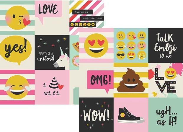 Emoji Love Double Sided 12x12 Scrapbooking Paper
