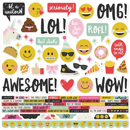 Emoji Love 12x12 Cardstock Scrapbooking Stickers