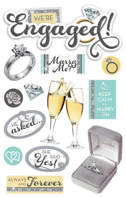 Engaged 3D Scrapbooking Glitter Stickers