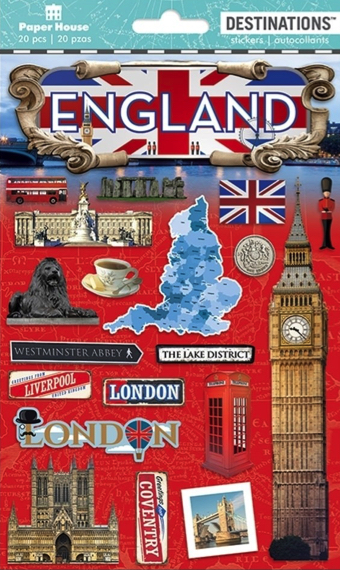 England 2D Scrapbooking Stickers