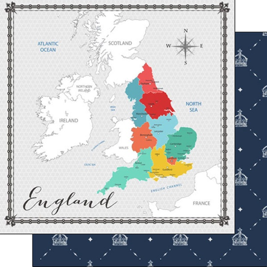 England Memories Map 12x12 Double Sided Scrapbooking Paper