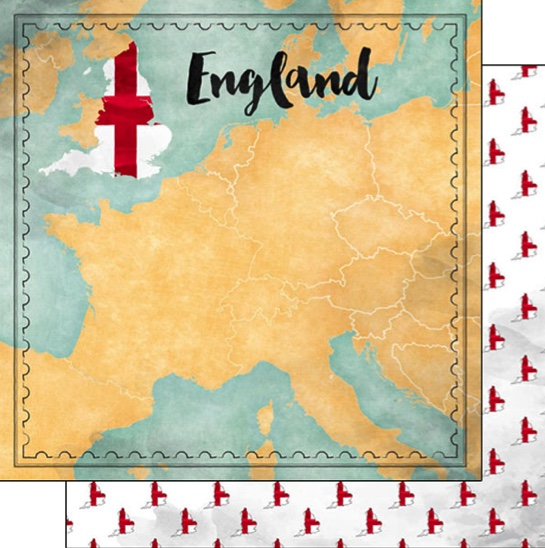 England Sights Map 12x12 Double Sided Scrapbooking Paper